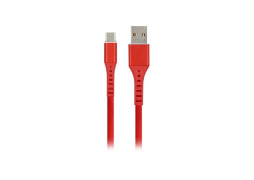 MF Product Jettpower 0017 Metal Başlıklı Örgülü 2.4A Led Işıklı Type-C Hızlı Şarj Kablosu 1 m Kırmızı resmi