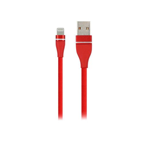 MF Product Jettpower 0054 Metal Başlıklı Örgülü 2.1A Lightning Hızlı Şarj Kablosu 1 m Kırmızı resmi