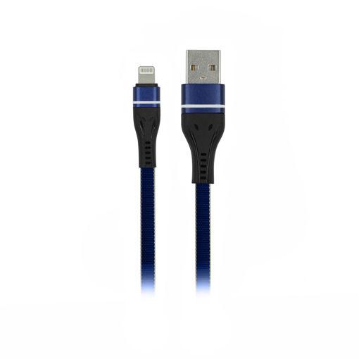 MF Product Jettpower 0030 Metal Başlıklı Yassı Örgülü 2.1A Lightning Hızlı Şarj Kablosu 1 m Mavi resmi