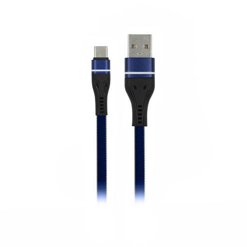 MF Product Jettpower 0034 Metal Başlıklı Yassı Örgülü 2.4A Type-C Hızlı Şarj Kablosu 2 m Mavi resmi