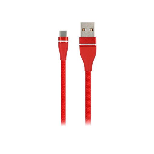 MF Product Jettpower 0058 Metal Başlıklı Örgülü 2.4A Type-C Hızlı Şarj Kablosu 2 m Kırmızı resmi