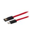 MF Product Jettpower 0049 Metal Başlıklı Örgülü 3A Type-C Hızlı Şarj Kablosu 20 cm Kırmızı resmi