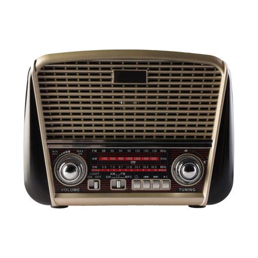 MF Product Acoustic 0186 Retro Fenerli Kablosuz Radyolu Bluetooth Hoparlör Siyah resmi