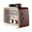 MF Product Acoustic 0188 Retro Kablosuz Radyolu Bluetooth Hoparlör Kahverengi resmi
