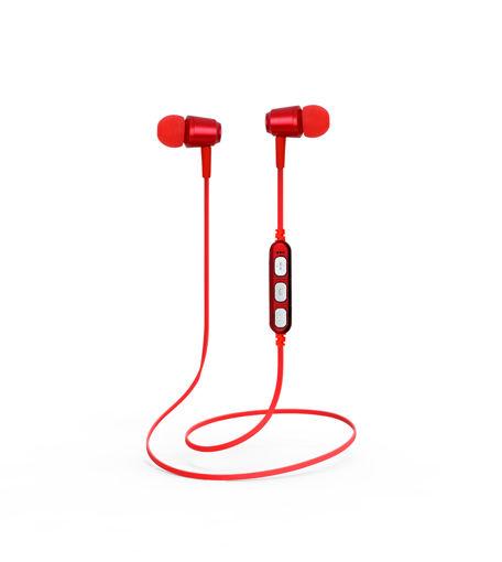 MF Product Acoustic 0130 Mikrofonlu Boyun Askılı Kulak İçi Kablosuz Bluetooth Kulaklık Kırmızı resmi