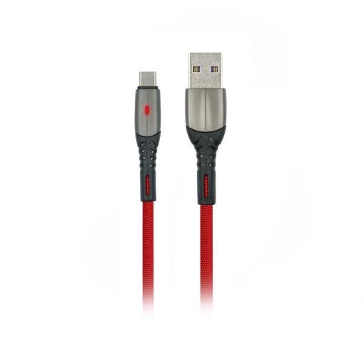 MF Product Jettpower 0037 Metal Başlıklı Örgülü 2.4A Led Işıklı Type-C Hızlı Şarj Kablosu 1 m Kırmızı resmi