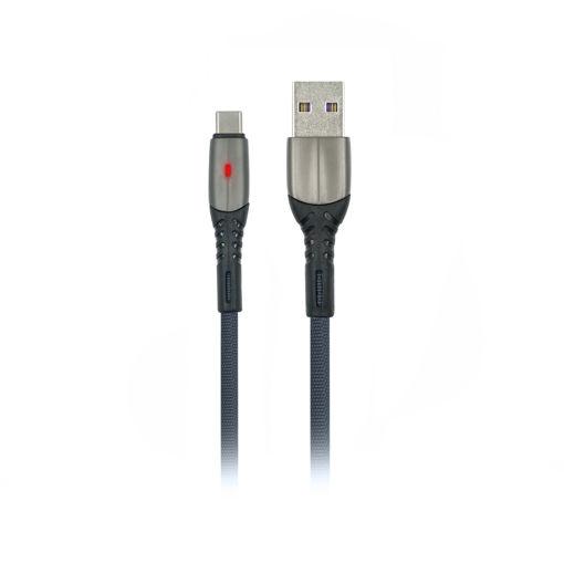 MF Product Jettpower 0037 Metal Başlıklı Örgülü 2.4A Led Işıklı Type-C Hızlı Şarj Kablosu 1 m Gri resmi