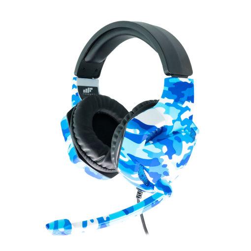MF Product Strike 0540 Kablolu Kulak Üstü Kamuflajlı Oyuncu Kulaklığı Mavi resmi