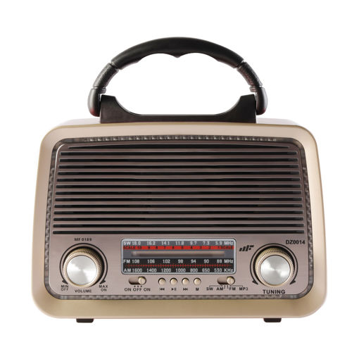 MF Product Acoustic 0189 Retro Kablosuz Radyolu Bluetooth Hoparlör Kırmızı resmi