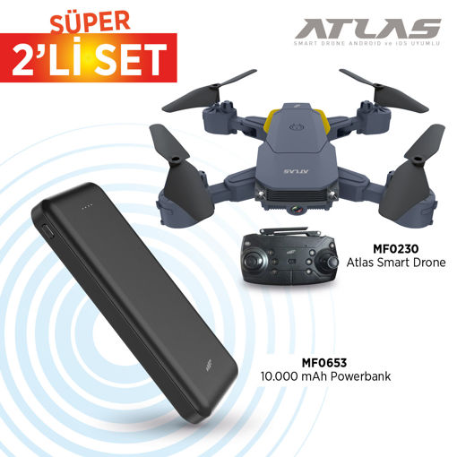 MF Product Atlas 0230 Smart Drone + 0653 10000 mAh Powerbank resmi